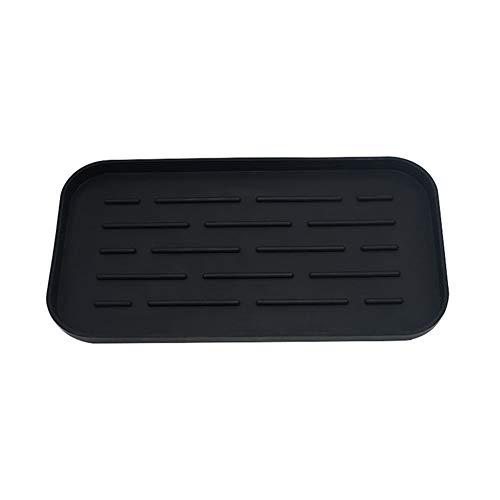 Soporte de esponja de silicona para fregadero – Bandeja organizadora para dispensador de jabón, esponjas, estropajo, color negro