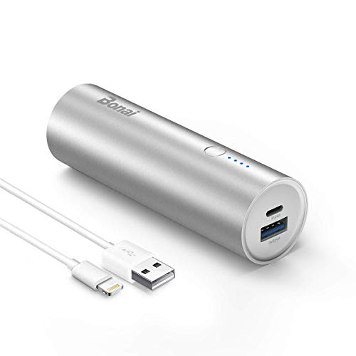 Portable Charger, BONAI 5000mAh Ultra Slim Power Bank Travel,Aluminum External Backup Battery Pack High Speed Output Compatible iPhone iPad iPod Samsung Galaxy Tablets -Silver(Charging Cable Included)