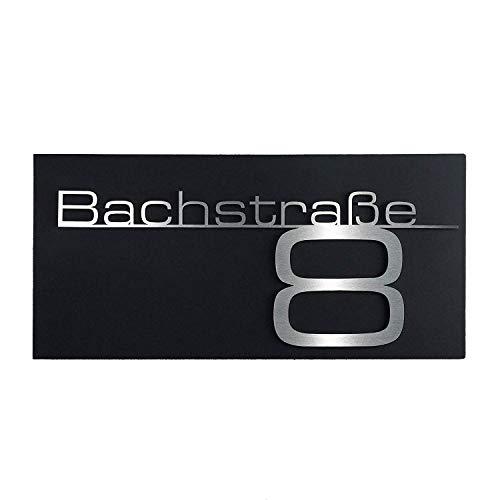 Hausnummern-Schild mit Straße- individueller Schriftzug aus Edelstahl – massiv & nicht rostend – alle Zahlen & Ziffern möglich – direkt vom Hersteller Metzler (Schwarz)