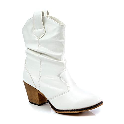 Charles Albert Botas vaqueras modernas para mujer con pestañas de dominadas, blanco (Blanco), 37 EU
