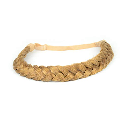 BOBIYA 2 fili sintetici treccine fascia classic chunky intrecciata trecce elastico stretch hairpiece per la ragazza delle donne accessorio di bellezza, 54g (biondo dorato)