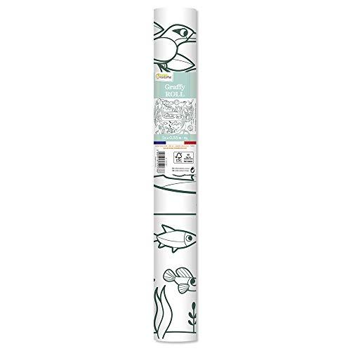 Avenue Mandarine Rollo de Graffy 5m x 35cm Cartel preimpreso de 90g, dibujo de 50cm repetido 10 veces Cartel gigante para colorear Tema del ecosistema GY078C