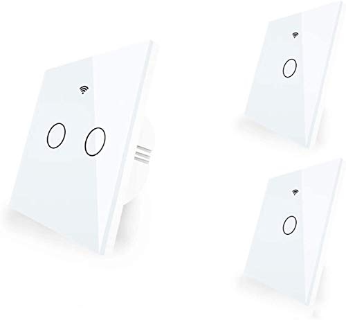 BCDL White Smart WiFi Switch Touch Panel,Neutral Required Transmitter Wall Waterproof Panel 1/2/3 Gang Remote Control Switch Works With Alexa Google Home 1119 (Color : White, Size : Kit 4)