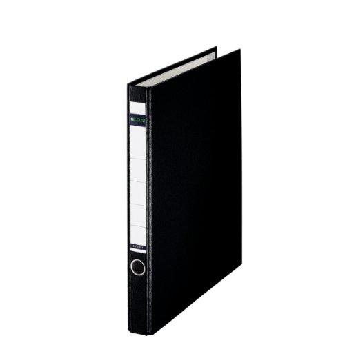 Leitz Plastik-Ringordner, Ohne Schlitze, Plastik-Cover, A4, 3,5 cm Rückenbreite, Schwarz, 10140095
