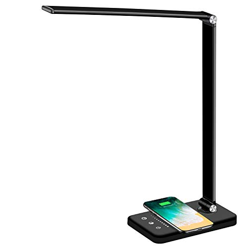 Multifunctional LED Desk Lamp with Wireless Charger, USB Charging Port, 5 Lighting Modes,5 Brightness Levels, Sensitive Control, 30/60 min Auto Timer,...