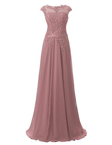 Clearbridal Damen Chiffon Lange Ballkleider Abschusskleider Abendkleider mit Applikation CSD181 Mauve Gr.EU40