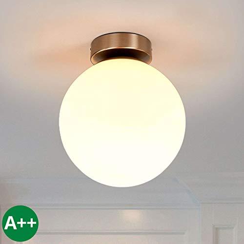 Lindby Deckenlampe 'Lennie' dimmbar (spritzwassergeschützt) (Modern) in Weiß aus Glas u.a. für Badezimmer (1 flammig, E27, A++) - Bad Deckenleuchte, Lampe, Badezimmerleuchte