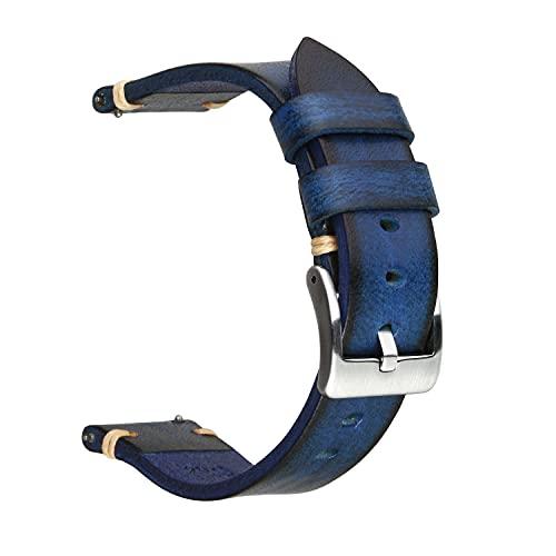 Berfine Correa de reloj retro hecha a mano, de liberación rápida, correa de reloj de cuero vintage, a elección de ancho: 18 mm, 20 mm, 22 mm, 24 mm o 26 mm, 24mm, Cuero Acero inoxidable,