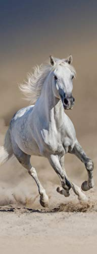 Preisvergleich Produktbild jdsjadjw Türaufkleber Wandaufkleber 3D White Horse Galoppierende Wandaufkleber DIY Türabdeckung Küche Dekoration Zubehör Moderne 3D Wandaufkleber 77X200 cm