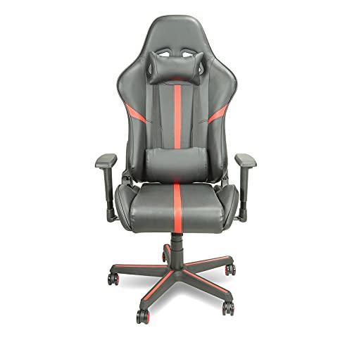 HXJU Silla de juegos, de oficina, de carreras, ergonómica, silla de videojuegos, silla reclinable de cuero de poliuretano, silla giratoria de apoyo lumbar, color rojo
