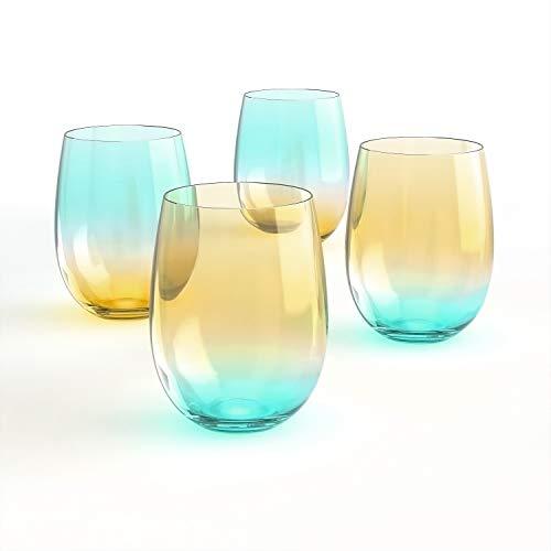 [4-Pack, 535ml/18oz]DESIGN·MASTER-Farbige stiellose Weingläser, Modetrends 2021, Ideal für Rot- und Weißwein, Cocktails, Wasser und Partygeschenke.(Hellgelb & Blau)