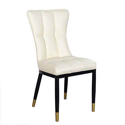 Skandinavischer leichter Luxus-Esszimmerstuhl, Metallgestell, hochwertiges Leder, pflegeleicht, Haushaltshocker, moderner einfacher und langlebiger haltbarer Ledersessel, Esszimmerstuhl mit hoher Rück