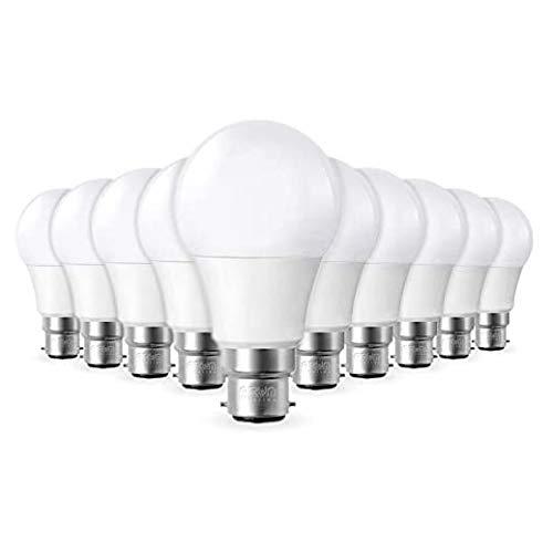 Lot de 10 Ampoules LED B22 9W equivalentce 55-60W 806lm Blanc naturel 4000K, Non-Dimmable