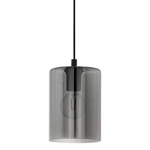 EGLO Suspension Cadaques 1, 1 ampoule moderne et élégante, en acier et verre noir, transparent, lampe de salle à manger, lampe de salon suspendue avec douille E27