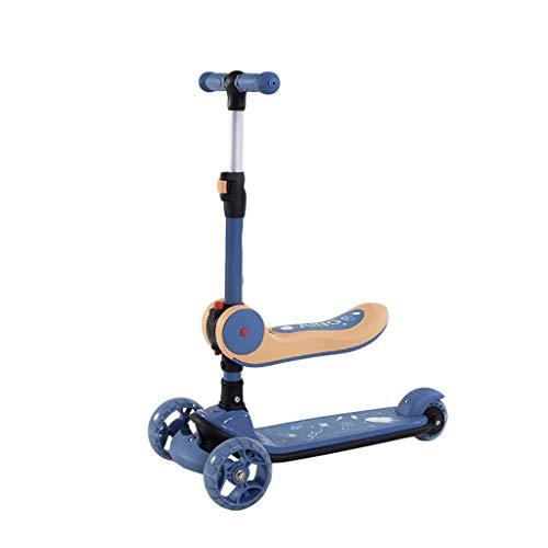 Patinete Kick Scooter para Niños con Asiento Plegable Altura Ajustable Magro para Dirigir Scooter para Niños de 2 A 14 Años (Color : Blue)