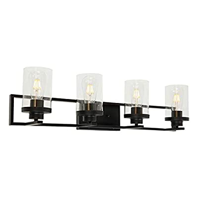MELUCEE 4-Light Bathroom Lighting Fixtures Over Mirror Matte Black Finish with Clear Glass Shade, Industrial Vanity Light Wall Sconce for Bedroom Kitchen Hallway