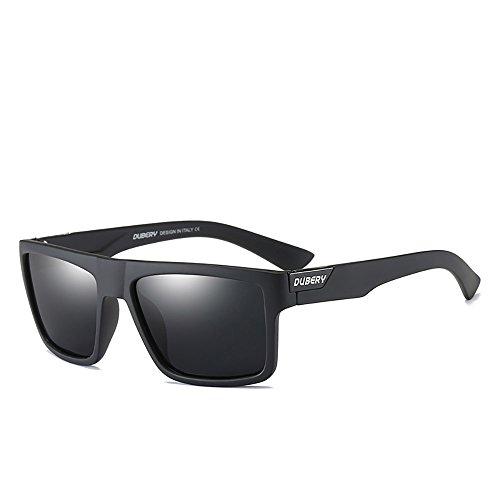 DUBERY Mens Sport Polarized Sunglasses Outdoor Riding Square Windproof Eyewear (#1), Frame width-141mm