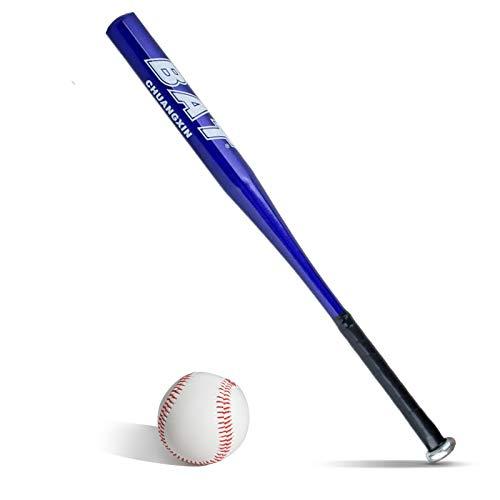 BigTree Bolas de béisbol Set Bate de béisbol azul+Bate de béisbol de aluminio de 25 pulgadas de seguridad de béisbol y bola set de defensa propia juventud adulto al aire libre traing y práctica
