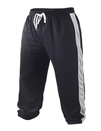 Muscle Alive Herren Ausgebeult Bodybuilding Hose Gittergewebe Schnelltrocknend Hose Polyester Leicht Color Black Size L