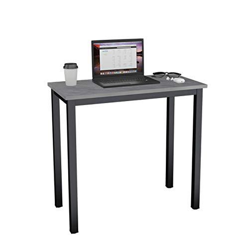 DlandHome Computertisch Schreibtisch, anständig und Stabil 80 x 40 cm Holz, Moderner Bürotisch Arbeitstisch PC Laptop Tisch für Büroarbeit und Hausaufgaben, Teak & Weiß