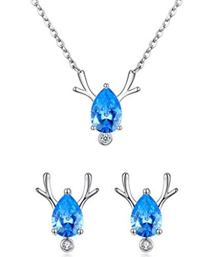 XIRENZHANG 925 Collar de Plata esterlina One Deer Road Tiene Usted Pendientes de Plata esterlina Collar Colgante Colgante Color Oro Cadena de clavícula Juego Blue.