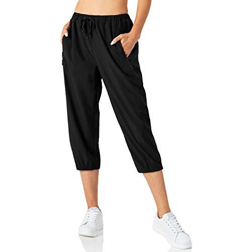Butrends Pantaloni da Jogging Leggeri da Donna Pantaloni Capri Quick Dry Pantaloni a 3/4 Pantaloni da Allenamento Corti Pantaloni da Trekking Casual con Tasche con Cerniera