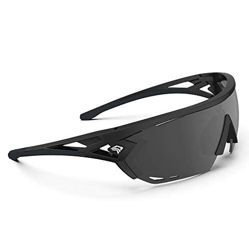 TOREGE Sports Sunglasses with 1.4mm Polarized Lens For Men Women Cycling Running Fishing Driving Golf Glasses TR18 Eagle-s (Black&Black&Grey Lens)