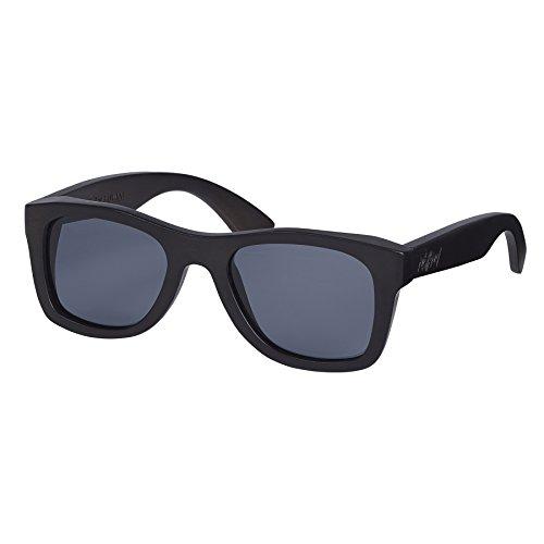 Nebelkind Unisex Holz Sonnenbrille Pitch Black mit Bambus Etui Schwarz Grau One Size