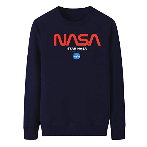 Logotipo de la NASA para Hombres y Mujeres Camiseta de Manga Larga, Manga Larga Crew Cuello NASA Carta impresión Camisa Sudadera de la NASA Sudadera, Unisex,Darkblue,2XL