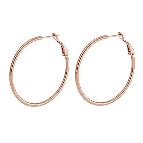 Daesar Women Earrings Rose Gold, Stainless Steel Earrings For Girls Circle High Polished Design Earring Rose Gold