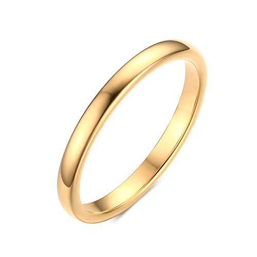 Rockyu ブランド 人気 タングステン リング メンズ ゴールド 18金メッキ レディース指輪 7号 シンプル 細身 甲丸指輪 婚約指輪 結婚指輪 おしゃれ アクセサリー