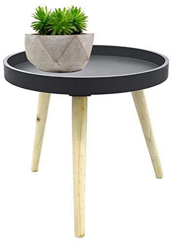 Möbelbörse Couchtisch Ø40cm Beistelltisch Sofatisch Holz MDF Deko Tisch Rund Dreibein Retro Look (Grau)