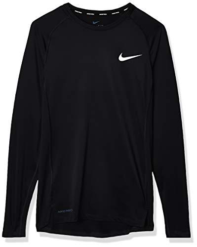 Nike PRO, Maglia A Maniche Lunghe Uomo, Nero (Black/White), L