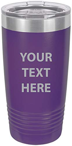 Personalized Add Your Custom Text Insulated Stainless Steel Tumbler 20 Oz Travel Coffee Mug Customizable (Purple)