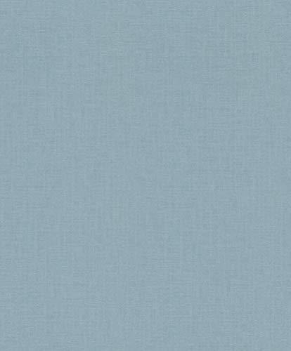 rasch Tapete 402469 aus der Kollektion Uptown – Einfarbige Vliestapete in mattem Blau – 10,05m x 53cm (L x B)