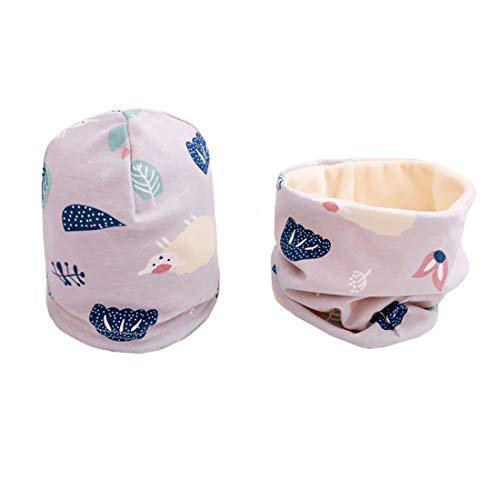 Boomly Autunno e Inverno Carino Neonato Bambino Spessa e Calda Outdoor Sciarpa del Cotone Cappello con Sciarpa Set Sciarpa e Berretto (Grigio#2, Large)