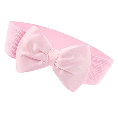 Inzopo Fashion Damen Taillengürtel mit Schleife, breiter Stretch-Schnalle, Pink