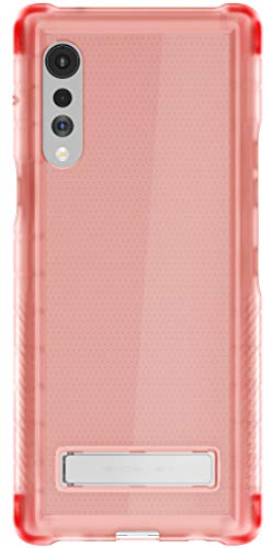 Ghostek Covert LG Velvet Case Clear with Kickstand and Grip Bumper Slim Phone Cover Ultra Thin Shockproof Design Heavy Duty Protection Wireless Charging for 2020 LG Velvet 5G (6.8 Inch) - (Pink)