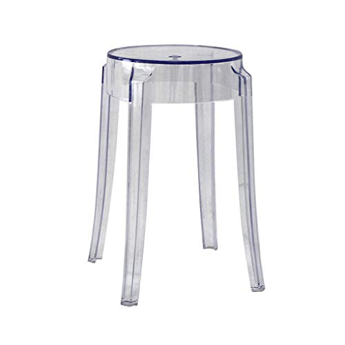 CQ Kunststoff Hocker Transparent Dick Acryl Esszimmerstuhl Kristall Hocker Barhocker Hausstuhl Kreative Hohe Hocker (Color : Clear)
