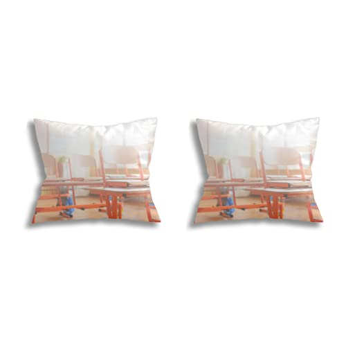 GEHIYPA Throw Pillow Covers Room Decoration (2 Piece Set),Empty Classroom with School desks Chairs and Blackboard Education Concept, Set Cushion Case for Sofa Bedroom pillowcases18*18inch