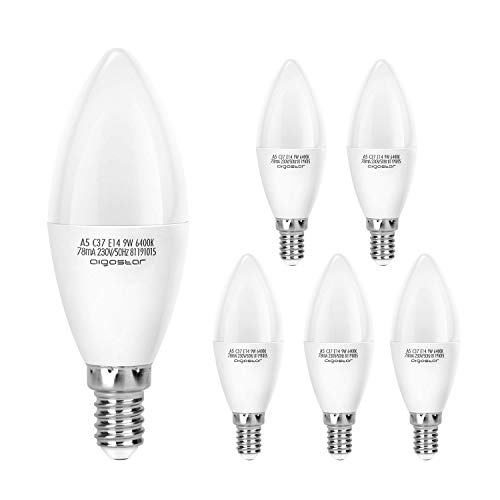 Aigostar Pack de 5 Bombillas LED Vela E14 9W, 720 lúmenes Luz blanca fría 6400K, No regulable