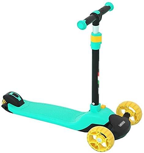 EIIDJFF Patinete Niño Scooter Patinete Alturas Ajustables adecuadas para Scooters para niños de 3 a 12 años, Ruedas LED y Scooter Deslizante con Pedales 611