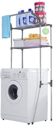 BAOYOUNI Toilettenregal Waschmaschinenregal Badezimmerregal Toilettenregale Platzsparendes Metall Badregal Bad WC Waschküche Regal mit 2 Ablagen Organisation Lagerregal Grau, 68 x 49.5 x 173 cm