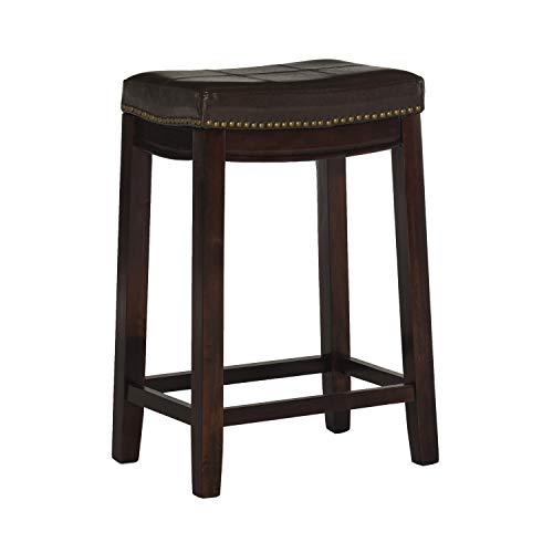 Linon Claridge Patches Counter Stool, 24-Inch, Brown