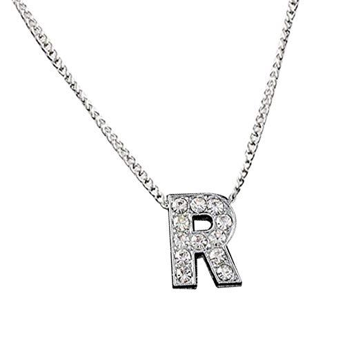 Collares, Glitter Rhinestone Incrustado 26 Carta Charm Cadena Clavícula Collar de la Pareja de la Joyería - R