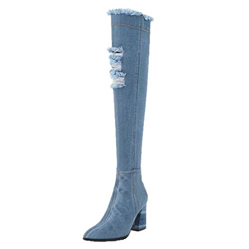 Adorose Damen Cut Out High Heels Blockabsatz Overknee Stiefel Denim Jeans Boots Spitz Langschaft Schlupfstiefel Reißverschluss Schuhe(Hellblau,40)