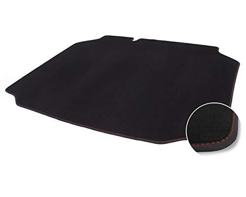 kh Teile Kofferraummatte Leon 3 (5F) Premium Qualität Autoteppich Laderaum Velours schwarz, Ziernaht Rot