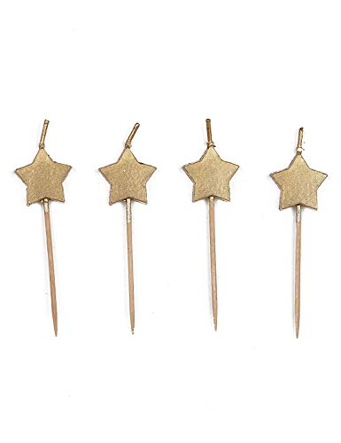 Unique Party 72420 Gold Stars Birthday Cake Candles 6 Pcs