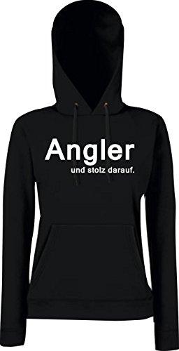 Unbekannt Lady Kapuzensweatshirt; Angler und stolz darauf; Farbe: schwarz, Größe S