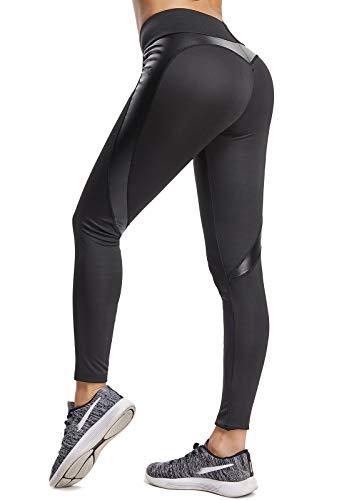 FITTOO Mallas Pantalones Deportivos Leggings Mujer Yoga de Alta Cintura Elásticos y Transpirables para Yoga Running Fitness con Gran Elásticos680 Negro M